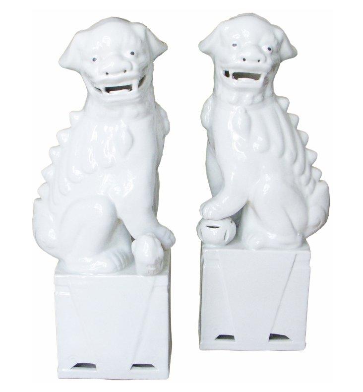 Large White Sitting Foo Dogs, Pair