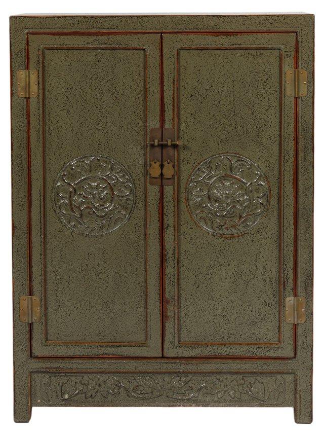 James 2-Door Cabinet, Distressed Green