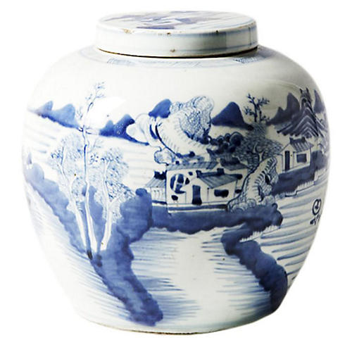 "9"" Landscape Jar, Blue/White"