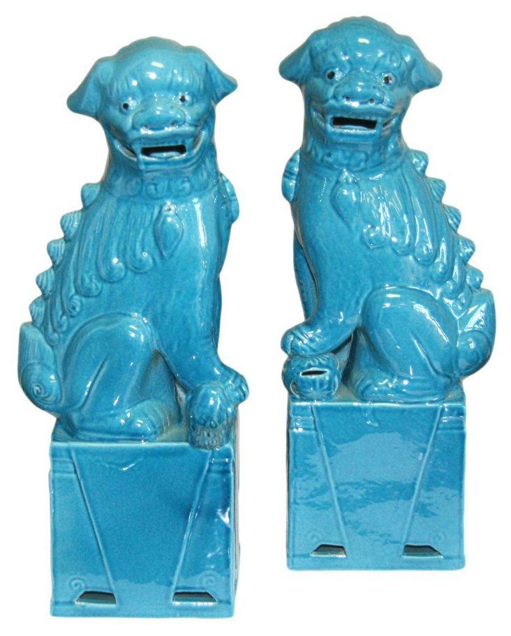 Turquoise Sitting Foo Dog, Pair