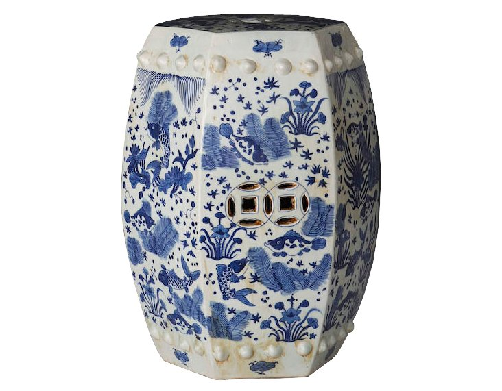 Hexagonal Fish Garden Stool, Blue/White