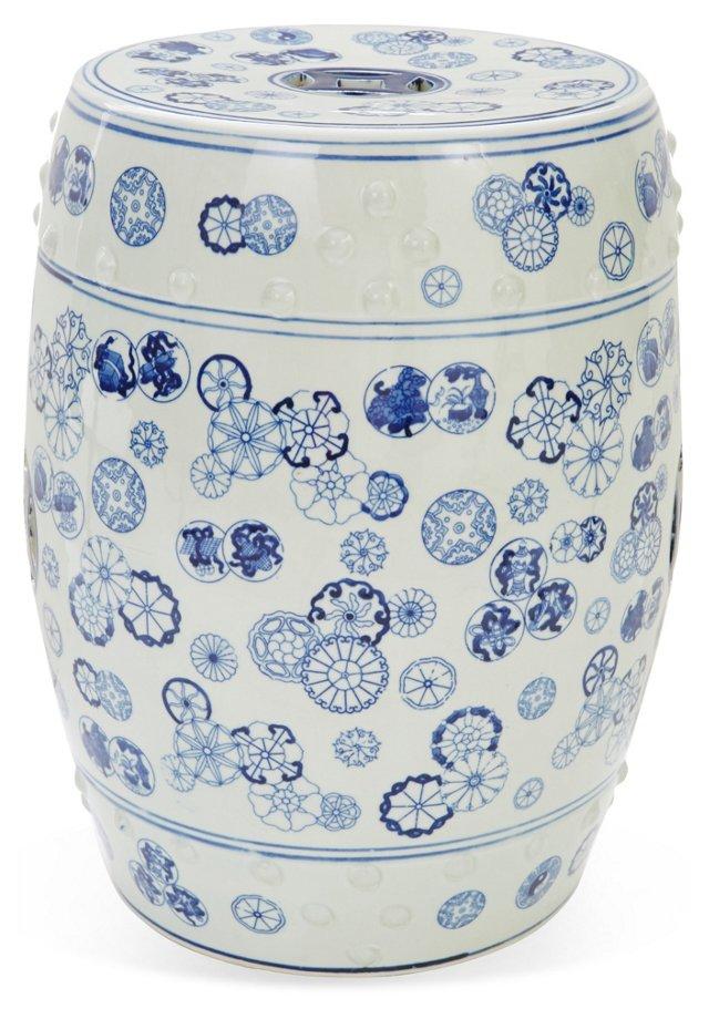 Ava Garden Stool, Blue/White