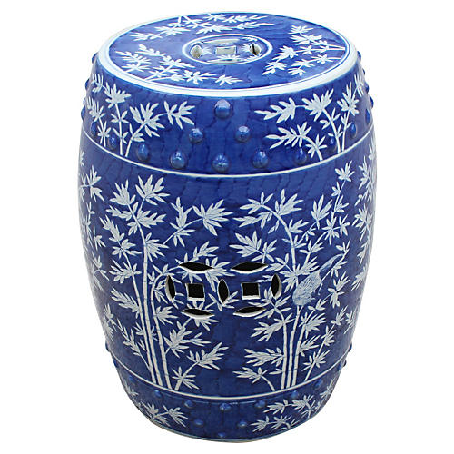 Bamboo Magpie Garden Stool, Blue
