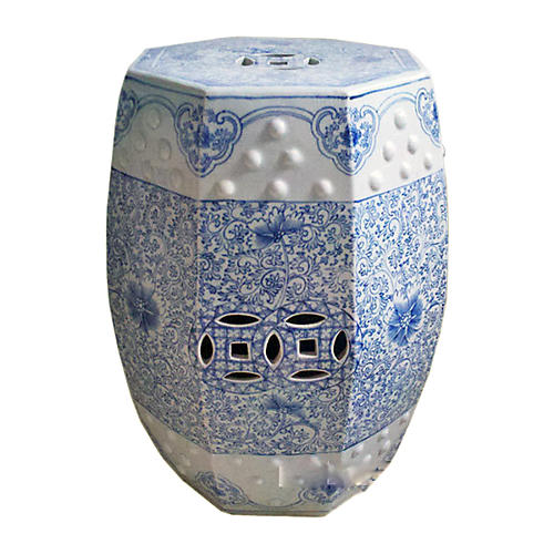 Hexagonal Lotus Stool, Blue/White