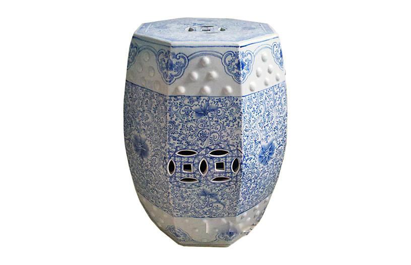Hexagonal Lotus Stool, Blue/White