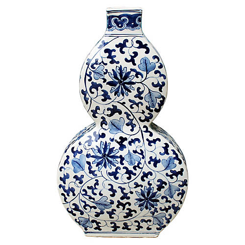 "18"" Twisted Lotus Gourd Vase, Blue/White"