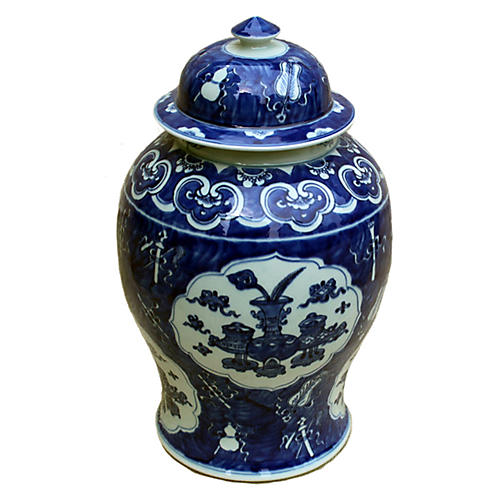 "18"" Medallion Temple Jar, Blue/White"