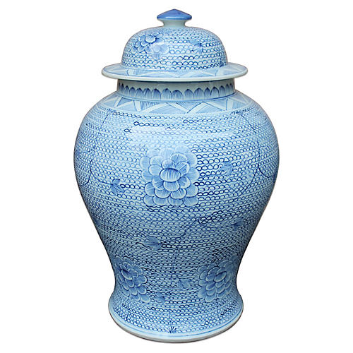 "16"" Chain Temple Jar, Blue/White"