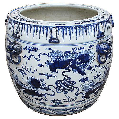 "17"" Lion Drum Planter, Blue/White"