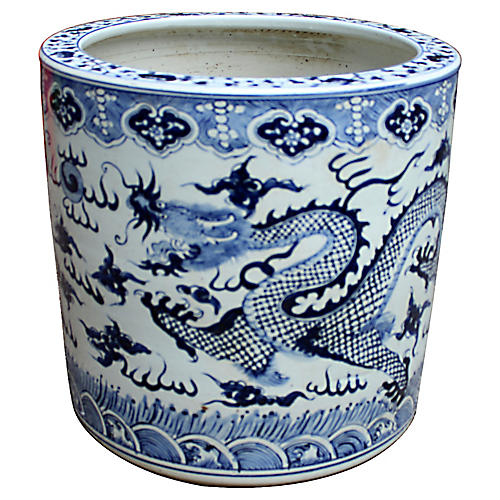 "19"" Cloud Dragon Planter, Blue/White"