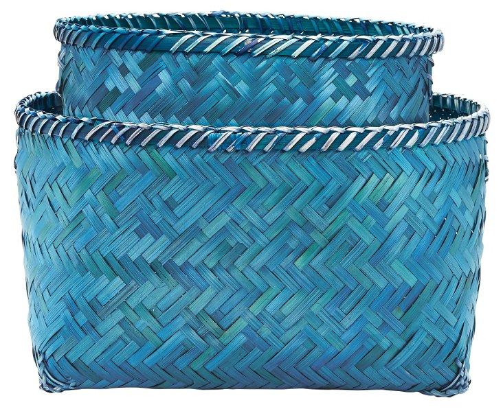 Asst of 2 Woven Blue Sea Baskets