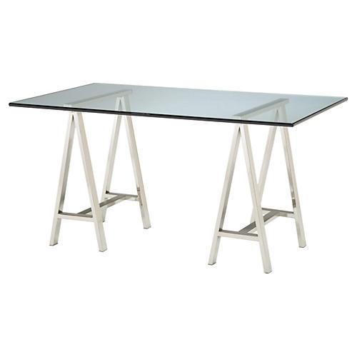 "Modern 60"" Glass Architect Desk, Silver"