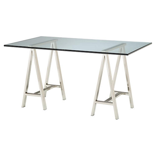 "Modern 60"" Glass Architect Desk, Silver"