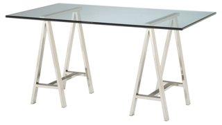 """Architect Desks modern 60"""" glass architect desk, silver - desks - office"""