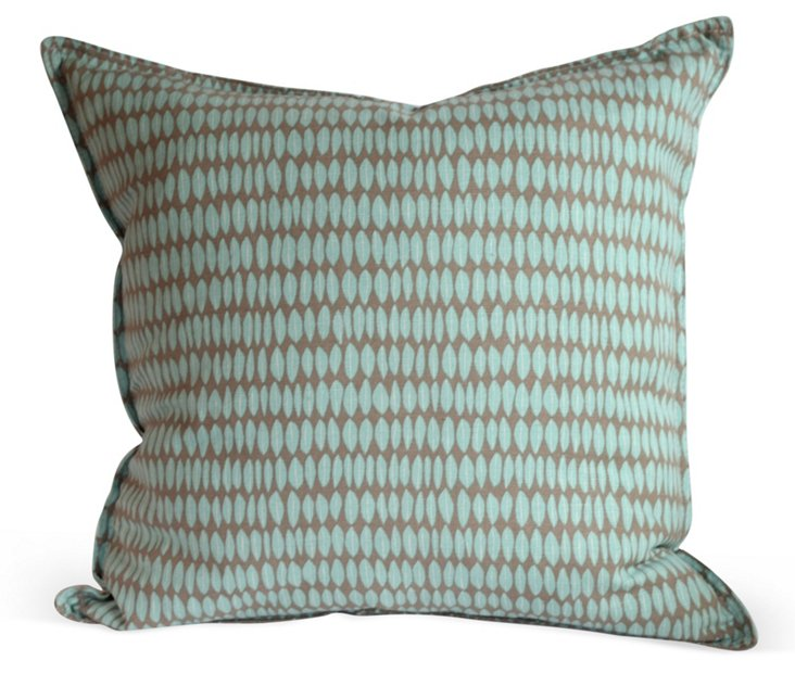 Blue & Brown Leaf Pillow