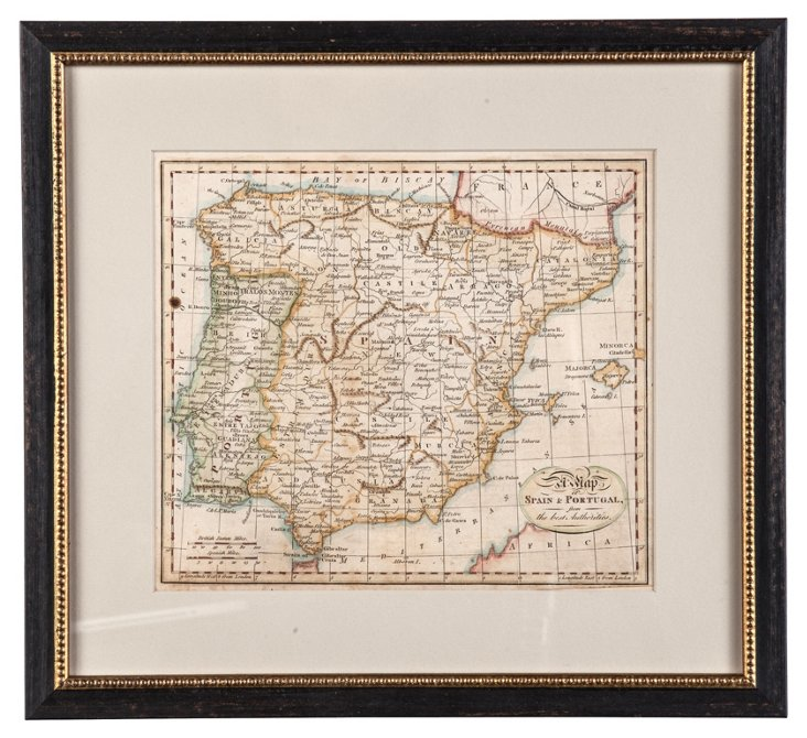 1804 Map of Spain & Portugal