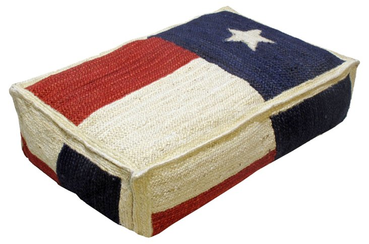 Lone Star 24x38 Wool Floor Cushion, Blue