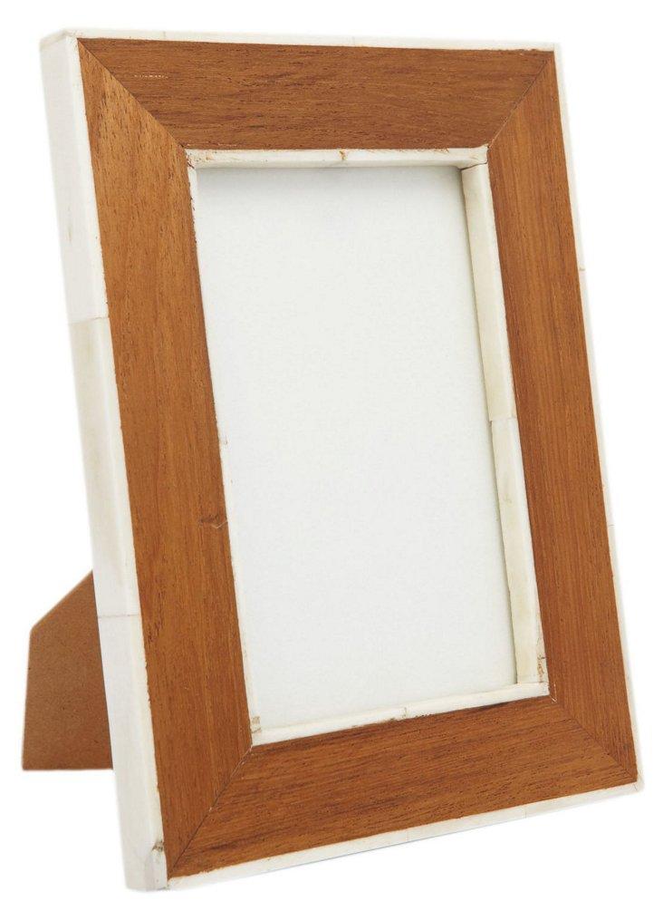 White Bone & Teak Frame, 4x6