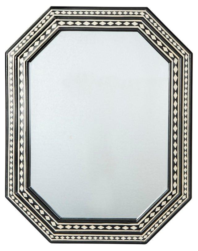 Taza Wood Wall Mirror, Black/White