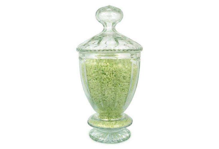 Celadon Bath Salts in Juliann Urn, Green