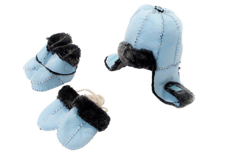 Bootie, Hat & Mitten Set, Blue