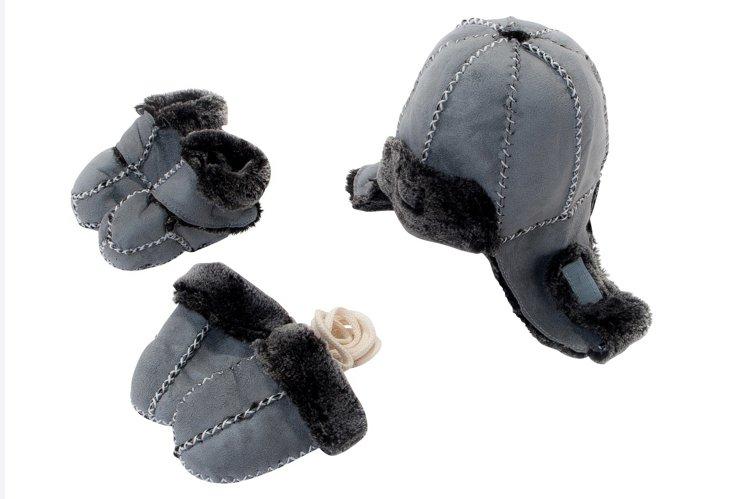 Bootie, Hat & Mitten Set, Gray