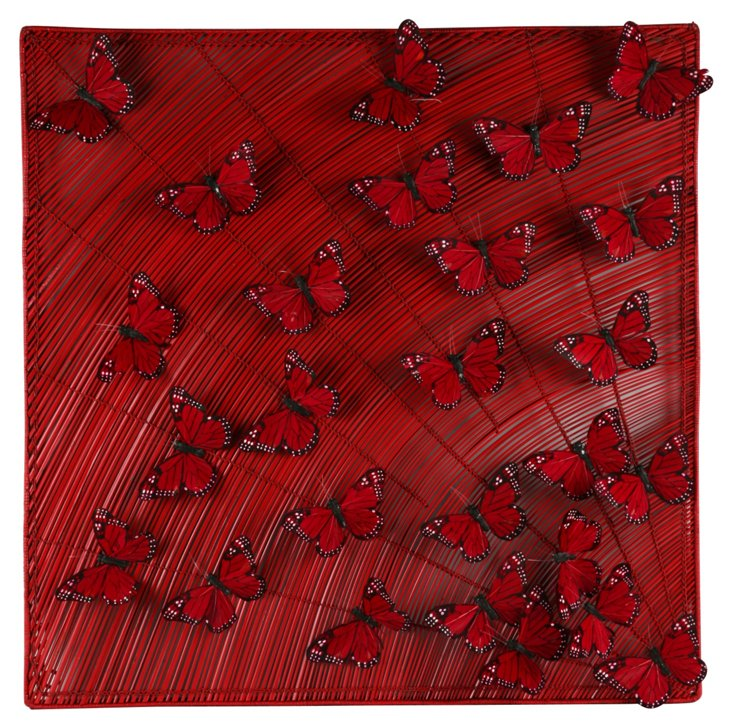 Feather Butterflies on Rattan, Red