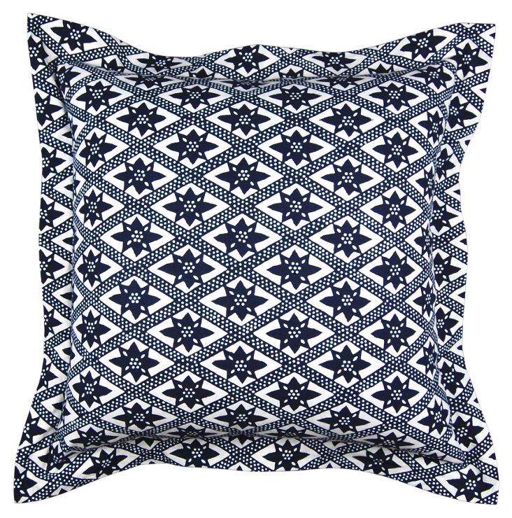 On the Fence 26x26 Pillow, Blue/White