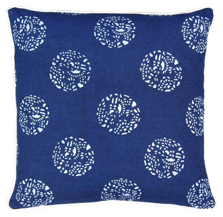 Dot Dot Dot 16x16 Pillow, Blue/White