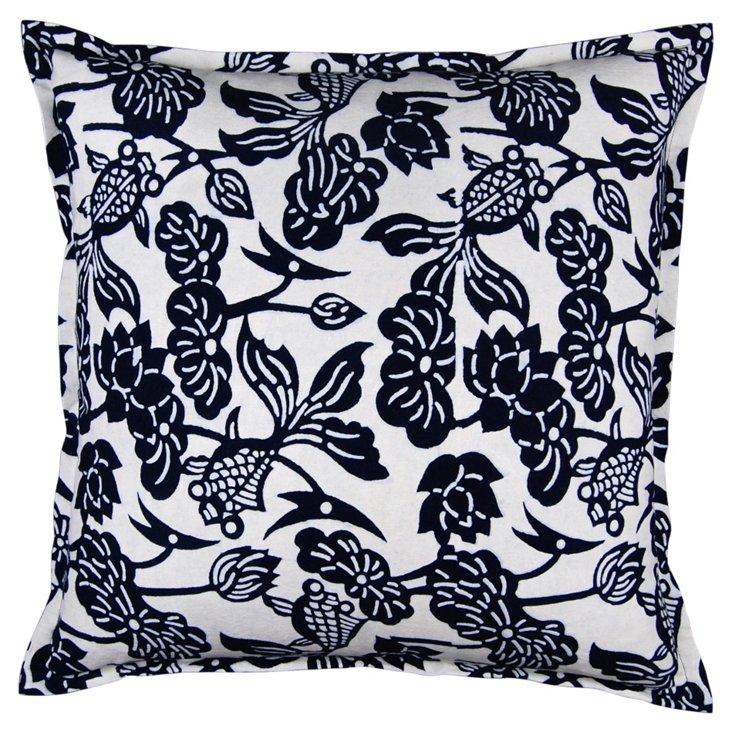 Floral 24x24 Cotton Pillow, Indigo