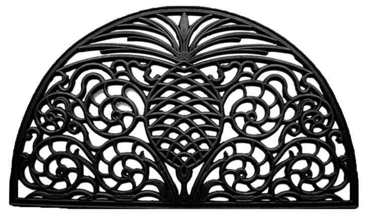 """1'6""""x2'6"""" Pineapple Doormat, Black"""