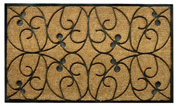 """2'6""""x4' Apples Doormat, Black"""