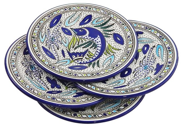 "S/4 Aqua Fish Dinner Plates, 11"""