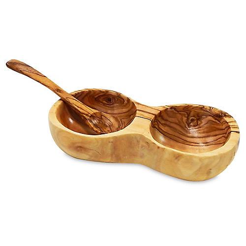 Olivique Salt & Pepper Bowls, Natural