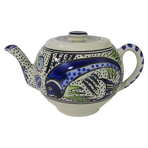 Aqua Fish Teapot, Cobalt Blue