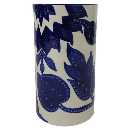 Jinane Utensil Holder, Cobalt Blue/White