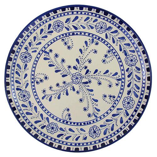 Azoura Round Platter, Blue/White