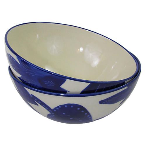 S/2 Jinane Deep Dinner Bowls, Cobalt Blue/White