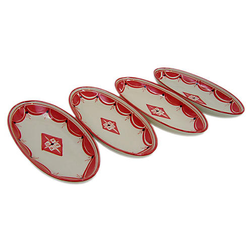 S/4 Nejma Small Platters, Red/White