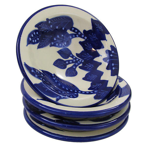 S/4 Jinane Round Sauce Dishes, Cobalt Blue/White