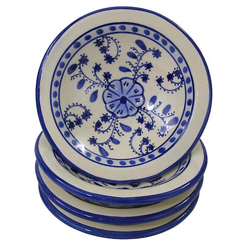 S/4 Azoura Round Sauce Dishes, Blue/White