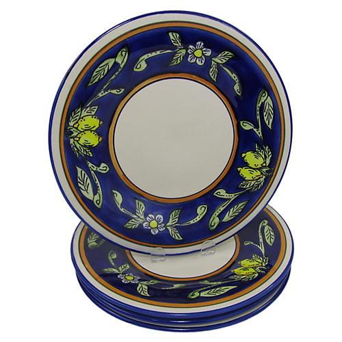 S/4 Citronique Dinner Plates, Deep Cobalt