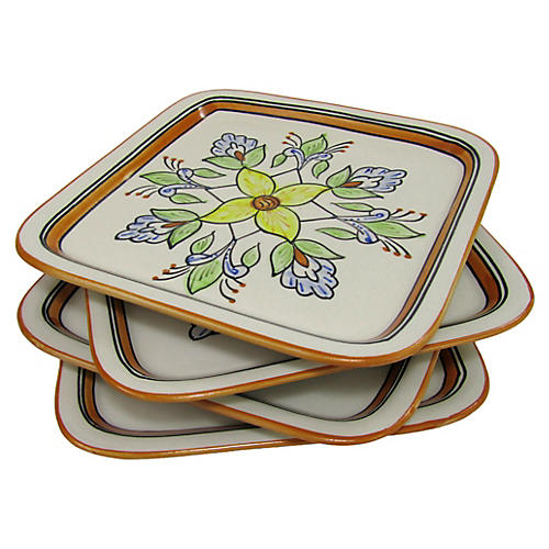 S/4 Salvena Square Plates, Sunflower Yellow