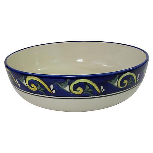 Riya Wide Serving Bowl, Blue/White