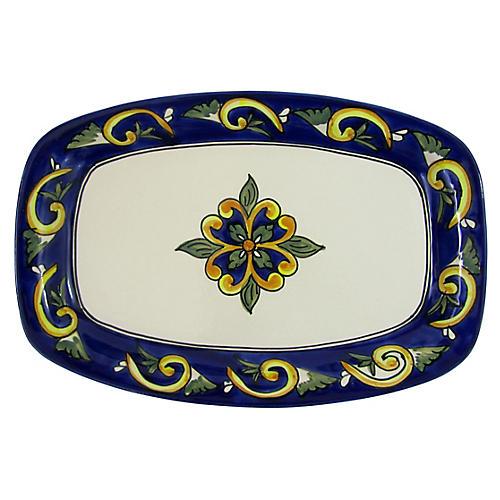 Riya Rectangular Platter, Blue/White