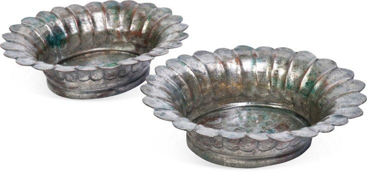 Zinc Bowls, Pair