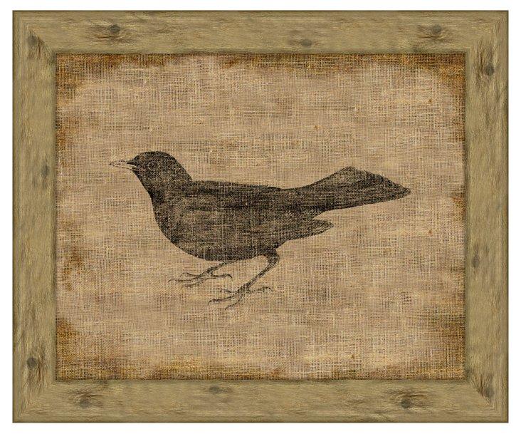 Blackbird on Antique Linen