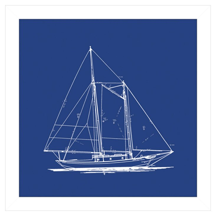 Sailboat Blueprint in Blue I