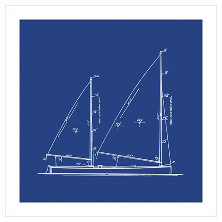 Sailboat Blueprint in Blue IV
