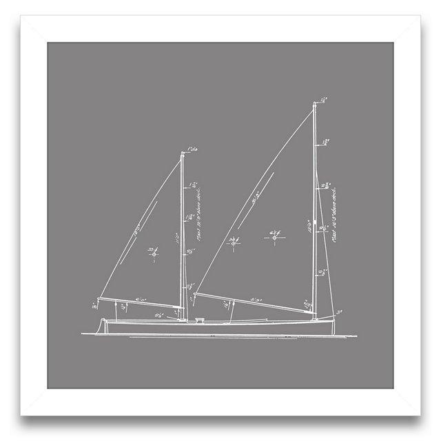 Sailboat Blueprint in Gray IV